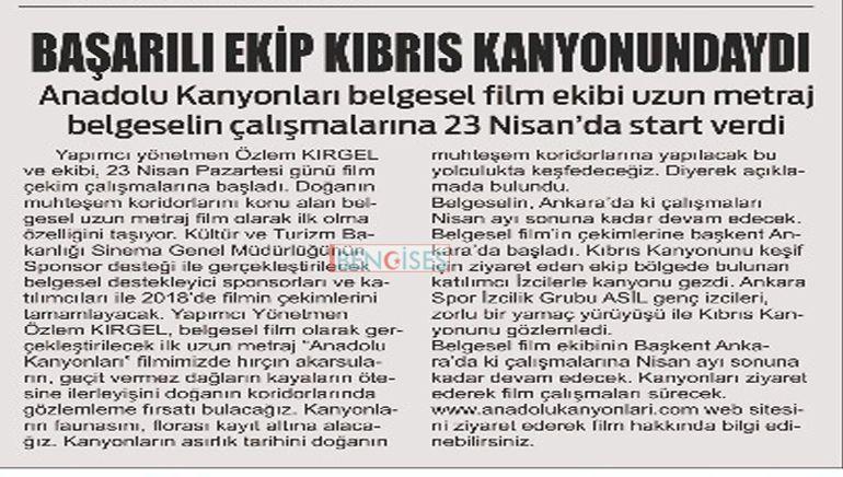 Bengi Ses Gazetesi;BAŞARILI EKİP KIBRIS KANYONUNDAYDI